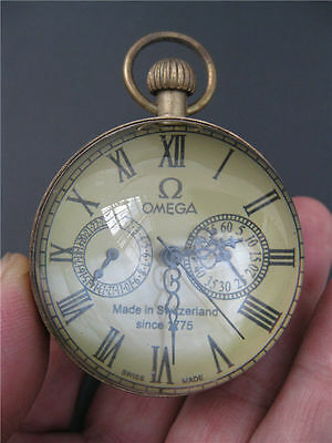 Chinese antique brass clock round spherical glass mechanical pocket watch