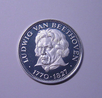 Paraguay 150 Guaranies 1974 Silver Proof Bust of Ludwig van Beeethoven half left