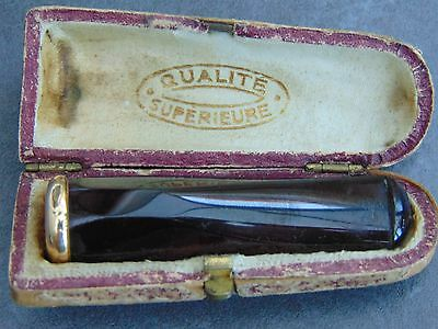 ANTIQUE FRENCH CASED CHERRY AMBER & 18ct GOLD  CHEROOT HOLDER HALLMARKED