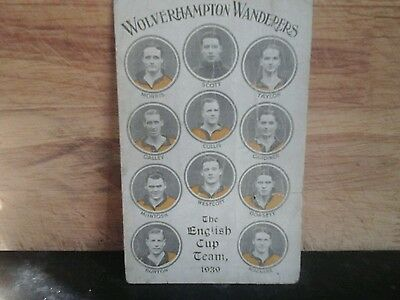 Wolverhampton Wanderers FC Postcard. Cup Team 1939. Unposted