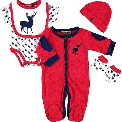 5 Piece Baby Boy Stag Layette Clothing Outfit Gift Set by Honour & Pride