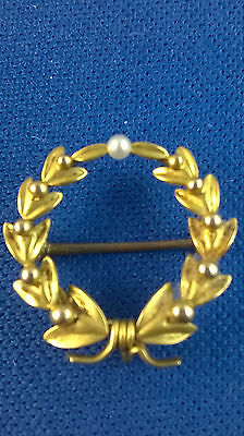 14k Gold Antique Wreath Motif Watch Pin with Pearl