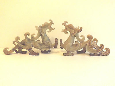Chinese Antique  Pair Of  Jade Dragons