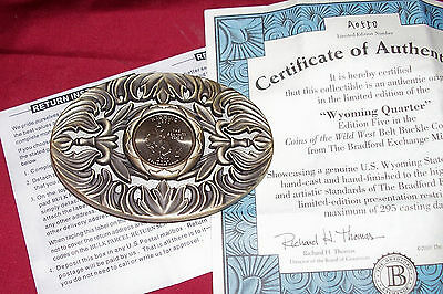 Rare Wyoming Quarter Belt Buckle Collector Collectible Cowboy Western Mens Rodeo