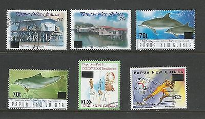 Papua New Guinea 2001-2005 six different Surcharges used as per scan