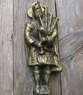 Old Reclaimed Solid Brass Bagpipe Player Door Knocker / Scotland / Scottish