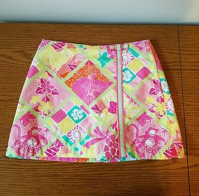 Lilly Pulitzer Skort Pink Green Yellow print with pink monkey Girls Size 10