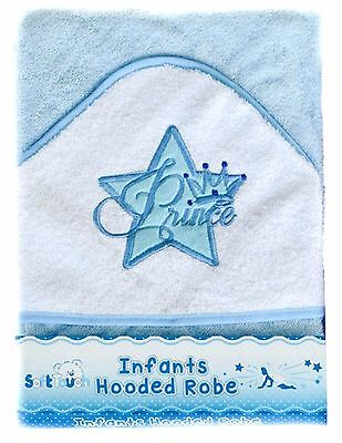 One Baby Boys Hooded Towel Robe Blue Prince Embroidered Design-by Soft Touch