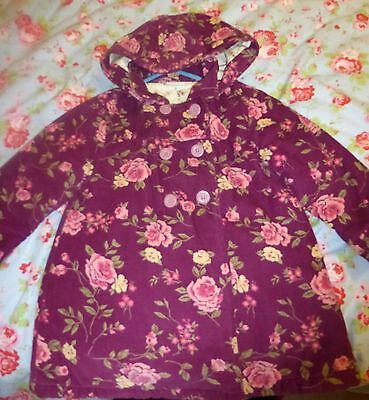 Jojo Maman Bebe Girls' Purple Floral Corduroy Coat Size 3 - 4 Fab Condition!