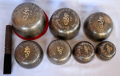 Hand Casted Tibetan Chakra Set Kasha Singing Bowl with Mantra Carving