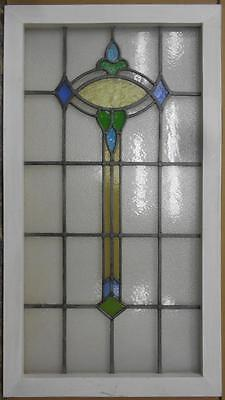 "LARGE OLD ENGLISH LEADED STAINED GLASS WINDOW Abstract Floral 21.75"" x 39.25"""
