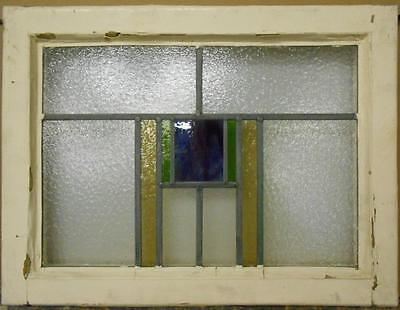 """MID SIZED OLD ENGLISH LEADED STAINED GLASS WINDOW Nice Geometric 23.25"""" x 17.75"""""""