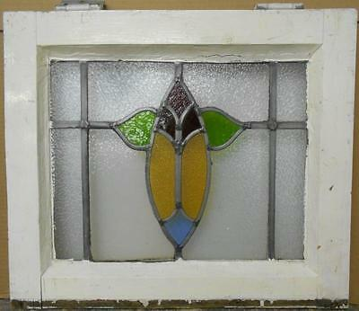 "OLD ENGLISH LEADED STAINED GLASS WINDOW Abstract Floral 19.5"" x 16.75"""