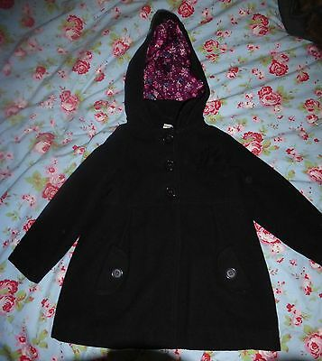 M&S Black Wool Rich Girls' Coat Aged 3 to 4 Used but Fab