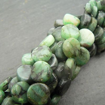 "Emerald Plain Coin Beads 15"" Strand Semi Precious Gemstone"