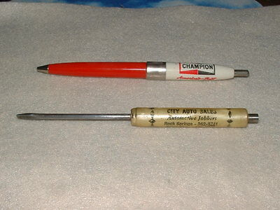 Vintage Champion Spark Plug Click Clicky Ink Pen Advertising Free Screw Driver.