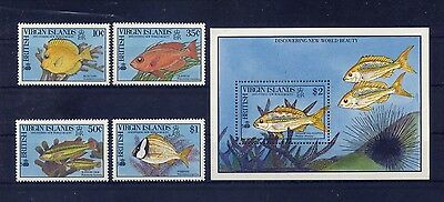 Br. Virgin Islands 668-71, 672 Local Fish--Mint Vf Never Hinged
