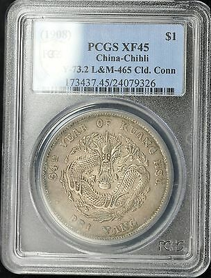 1908 China-Chihli Silver Dragon Dollar $1 Cloud Connected Y73.2  Lm465 Pcgs Xf45