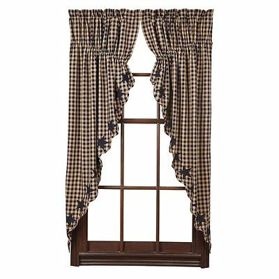 """Navy Star Scalloped Prairie Curtains by VHC Brands - 63"""" x 36"""" Lined Curtain Set"""