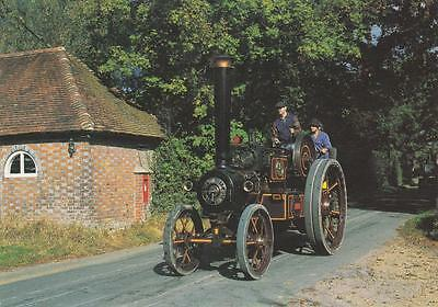 """Colour Photo Postcard - 1916 Burrell Gold Medal Steam Tractor - """"lion"""""""