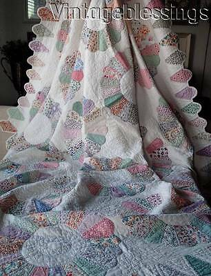 """Glorious! Vintage 30s Dresden Plate QUILT Cone Border Beautiful Prints 90x73"""""""