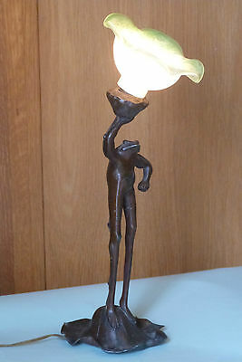 Unusual Antique Art Nouveau Bronze / Spelter Figural Stylised Frog Table Lamp