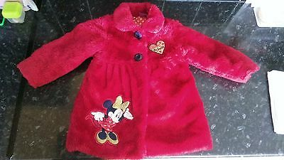 Disney George Minnie Mouse Red Faux Fur lined Coat & Hand Warmer 2-3 Years