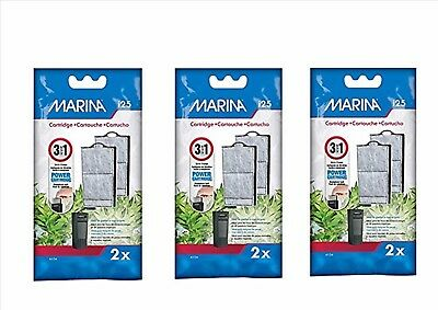 HAGEN MARINA i25 REPLACEMENT POWER FILTER CARTRIDGE 2 PER PACK X 3 PACKS