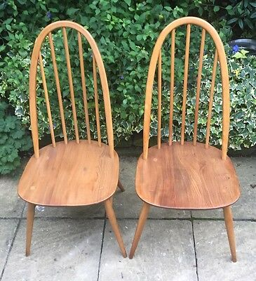 Good Pair Of Retro Ercol Quaker Dining Chairs  Clean Condition Cheap Delivery