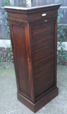 Outstanding Tambour Oak Arts & Crafts Office Filing Cabinet Chest 9 Trays