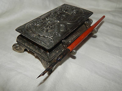 Antique 1920's Japanese Silver Plated Desk Top Ink Stand ~ Dragon Decoration