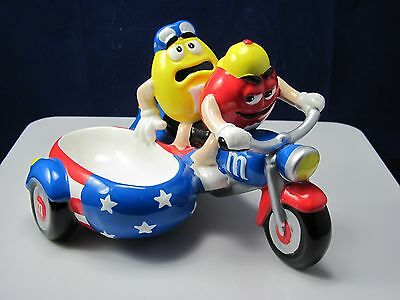 M&m's Red And Yellow Ceramic Motorcycle By Galerie Mint