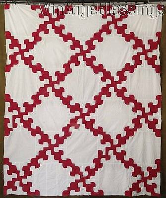 "Antique c1920 Red & White Drunkards Path QUILT TOP 84"" x 70"""