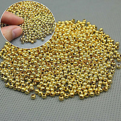 800 3MM Plated Round Gold Spacer Beads DIY Jewelry Making Findings