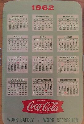 Vintage 1962 Coca-Cola Company Advertising Pocket Calendar Ruler Coke