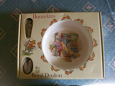 "New- Boxed-1936-Royal Doulton ""bunnykins""dressing Up -Nursery Set-Plate & Spoon"