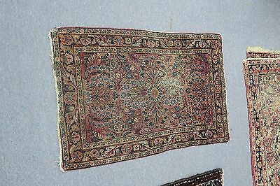 Antique Persian Lilihan  Rug. Hand Knotted Wool 1'10 x 2'9 As is!!  has wear