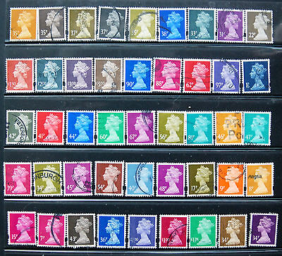Collection Of 45 Different Used GB HV  Machin Definitives.