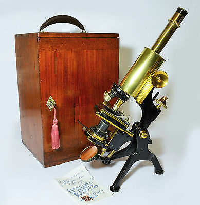 Large Watson Edinburgh Student 'H' microscope with case.  London, 1930s
