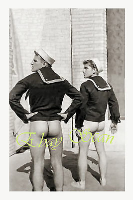 VINTAGE 1940's PHOTO NUDE SAILORS SHOW OFF HARD BUTTS GAY INTEREST 47