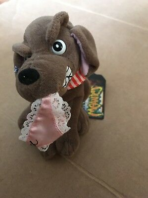 """1998 Infamous Meanies Buddy The Dog Plush Beanie Nwt 6"""""""