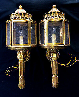 Gorgeous Pair Brass Carriage Lamp Wall Sconce Bubble Glass Insert Shade Ornate