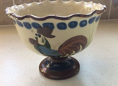 Vintage Devon Motto Ware Pottery Bowl on stand marked Longpark, Torquay