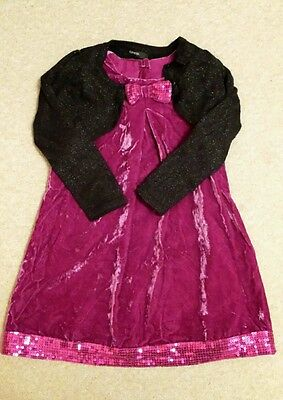 Girls' Pink Party Velour Dress with Sequin Trim & Black Glitter Cardigan 3-4 Yrs