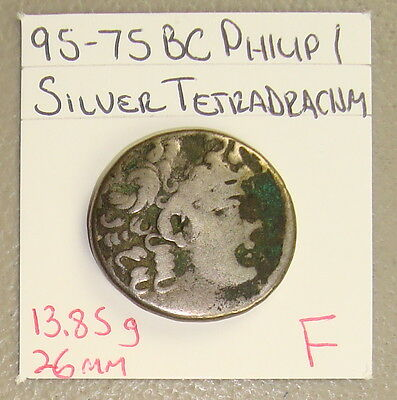95-75 BC Seleucid Kingdom Philip I Ancient Greek Silver Tetradrachm F