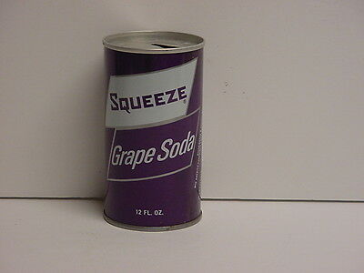 Vintage Squeeze Grape Soda Straight Steel Pop Can Pull Tab Top Opened