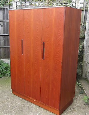 Superb Retro Teak G Plan 3-Door Wardrobe Clean Condition, Matching Robe Listed