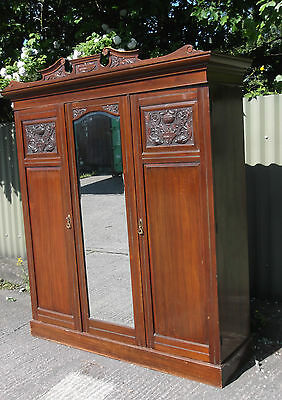 Fine Arts & Crafts Walnut 3 Door Compactum  Fitted Wardrobe- 2 Man Delivery
