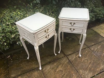 Superb Pair Of French Style Painted Chic Bedside Cabinets/chests- London Maker