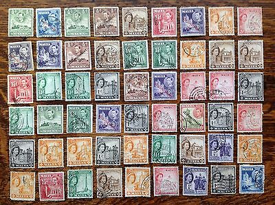 Collection Of Old Malta Stamps